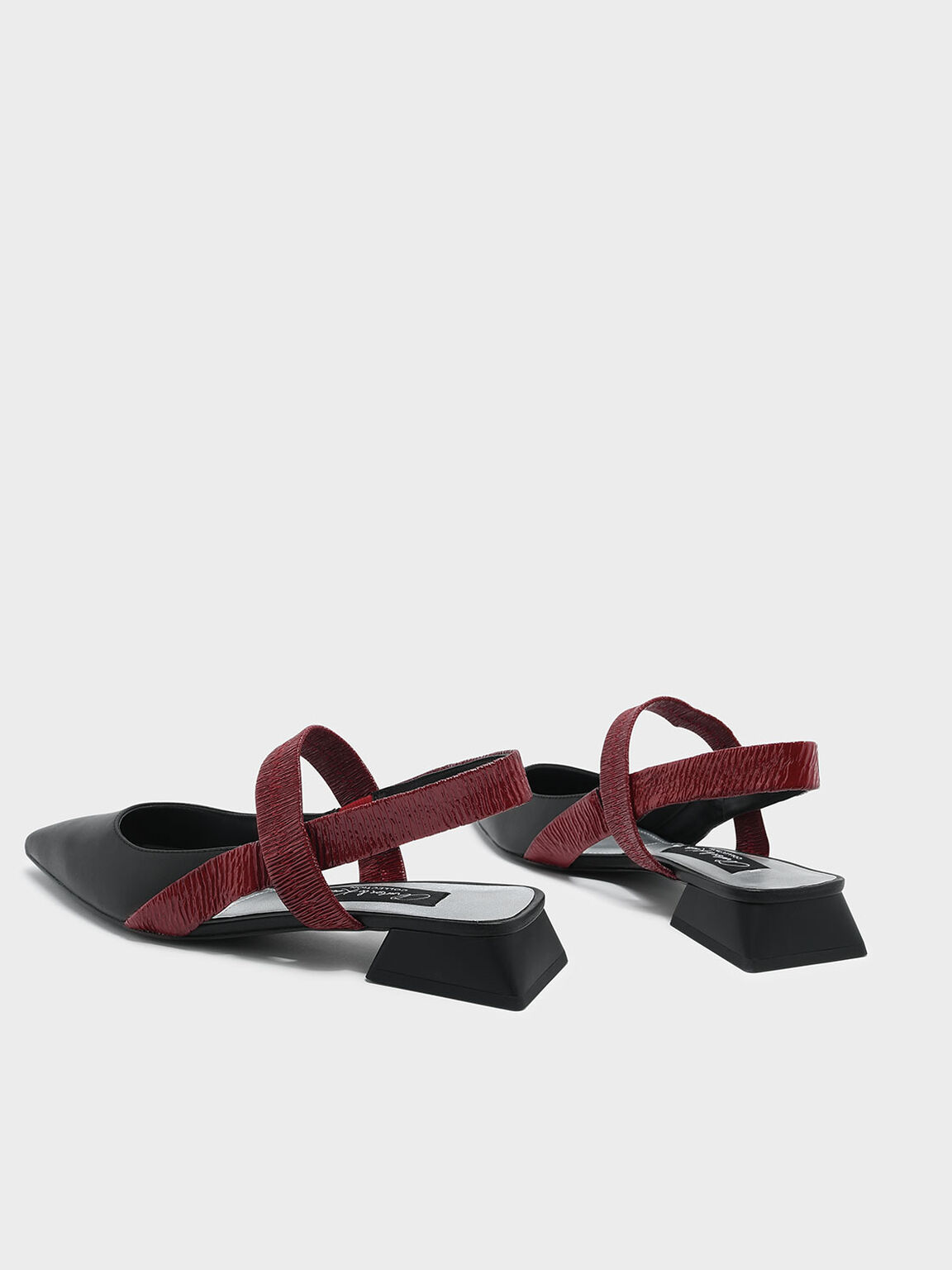Mary Jane Leather Slingback Sandals, Red, hi-res