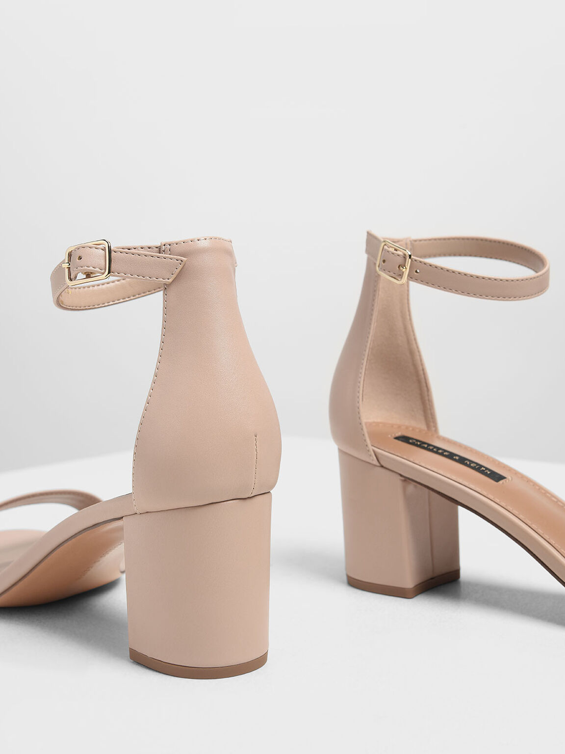 Block Heel Ankle Strap Sandals, Nude, hi-res