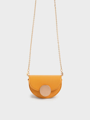 Circular Push Lock Saddle Pouch, Mustard