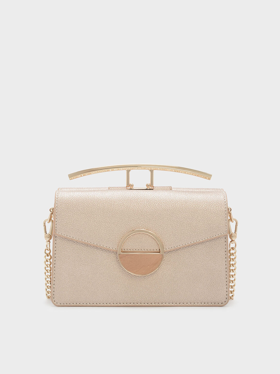 Circular Detail Crossbody Bag, Rose Gold, hi-res