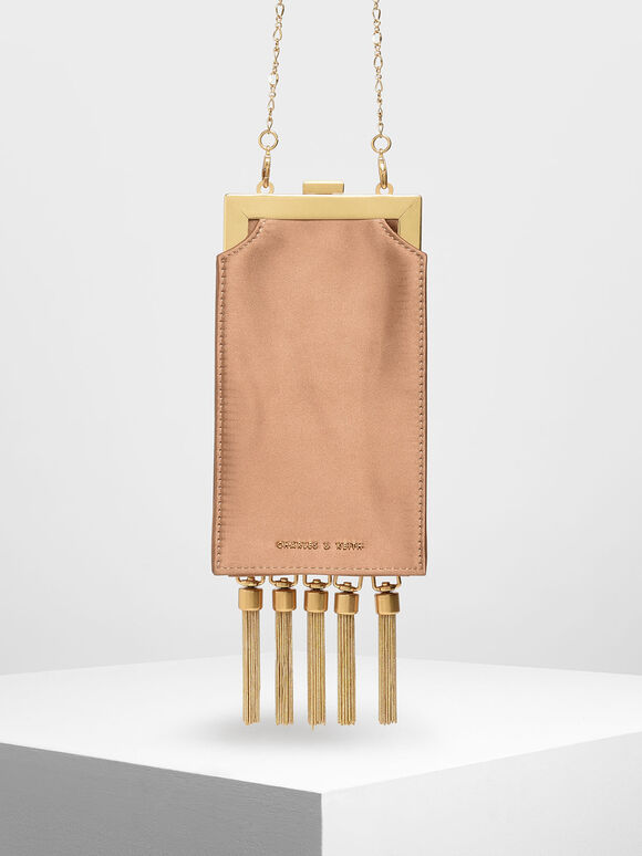 Satin Tassel Clutch, Camel, hi-res