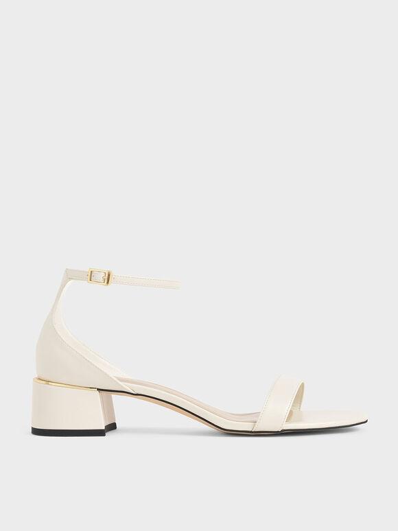 Ankle Strap Heeled Sandals, Chalk, hi-res