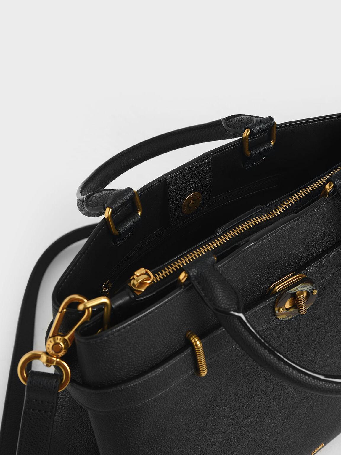 Large Turn-Lock Tote Bag, Black, hi-res