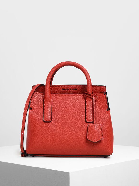 Tuck-In Flap Structured Bag, Red, hi-res