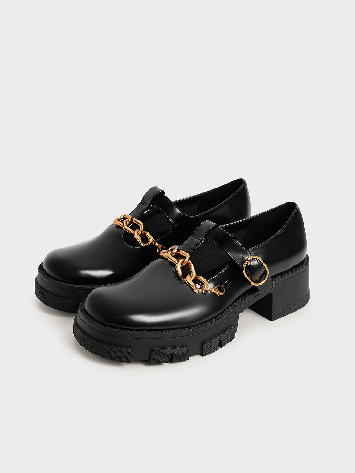 粗鍊厚底瑪莉珍鞋, 黑色, hi-res