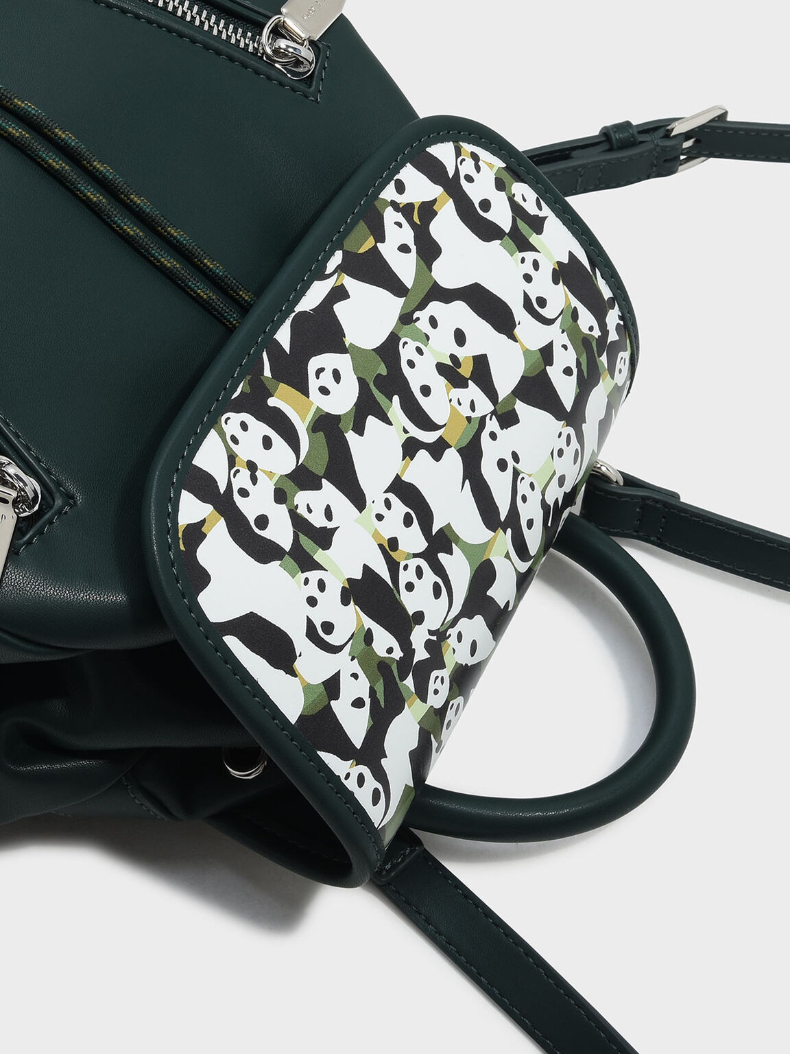 Printed Front Flap Backpack, Green, hi-res