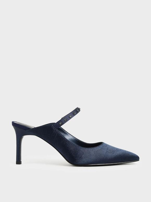 Satin Embellished Strap Mules, Dark Blue, hi-res