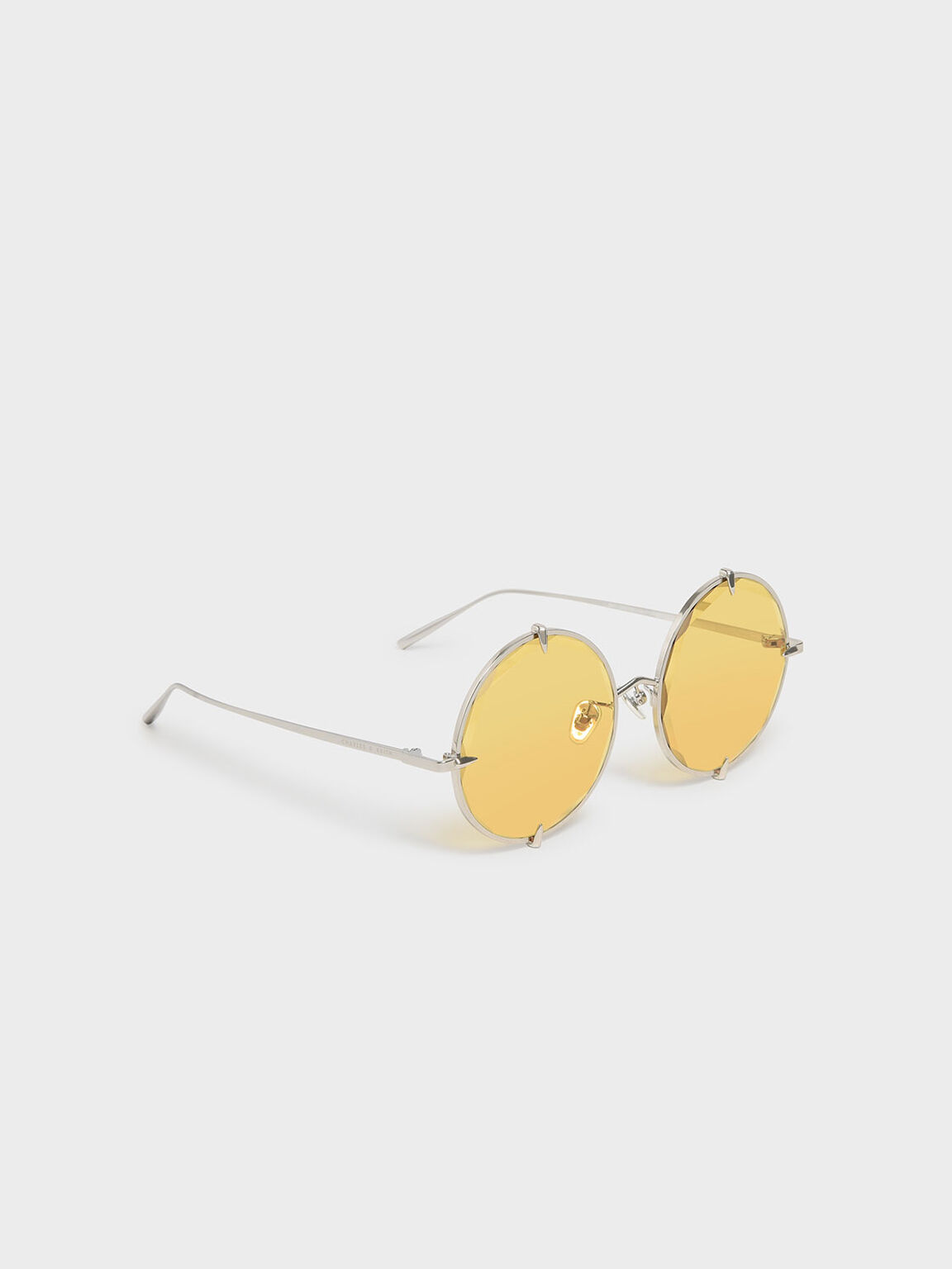 Round Wire Frame Skinny Sunglasses, Yellow, hi-res