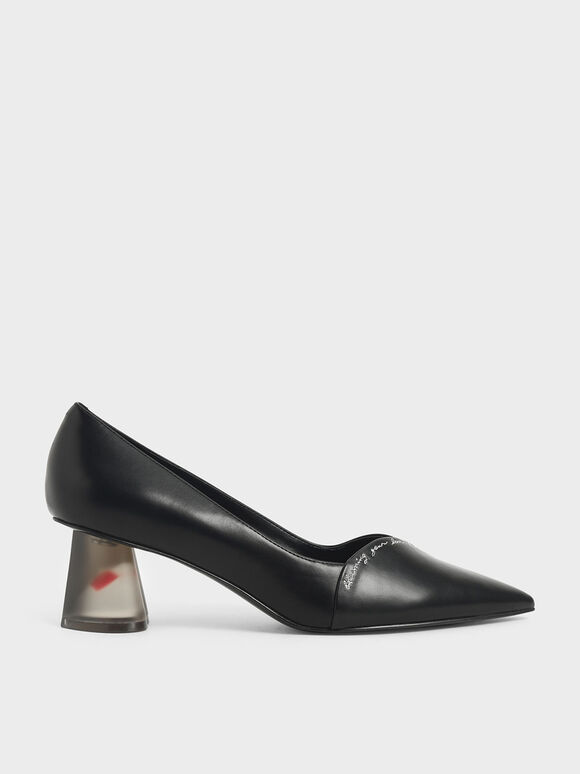 Embroidered Lucite Sculptural Heel Pumps, Black, hi-res