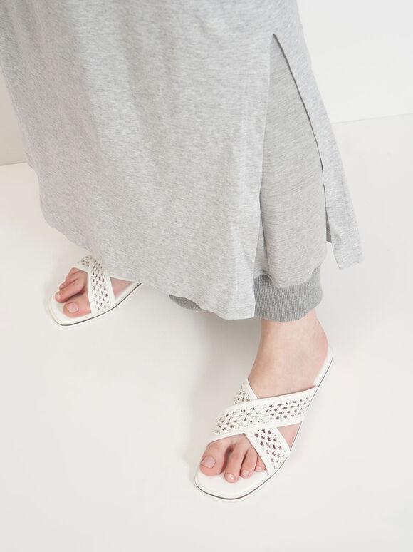 交叉編織帶拖鞋, 白色, hi-res