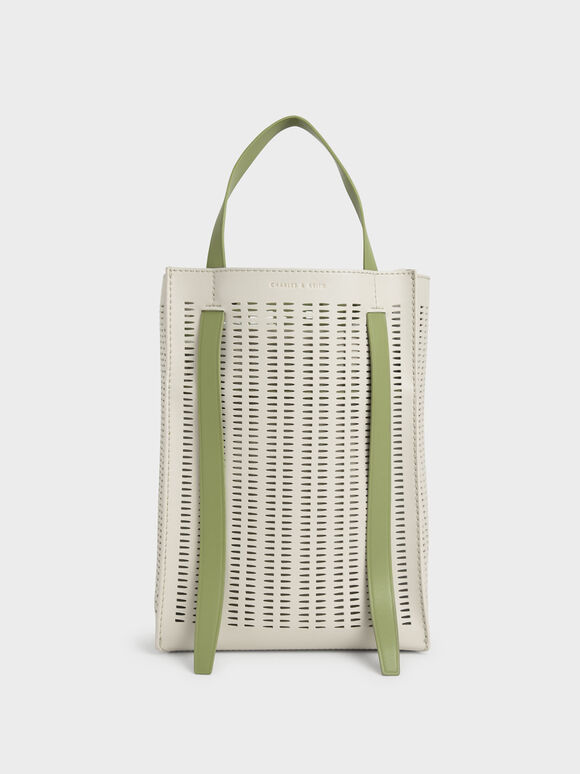 Molly Chiang Collection: Laser-Cut Large Tote Bag, Cream, hi-res