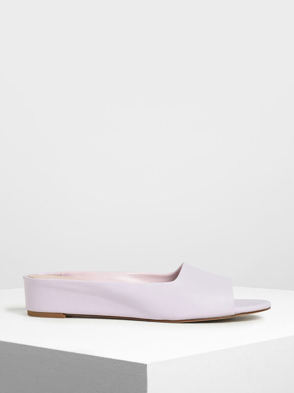 Open Toe Slide Sandals, Lilac
