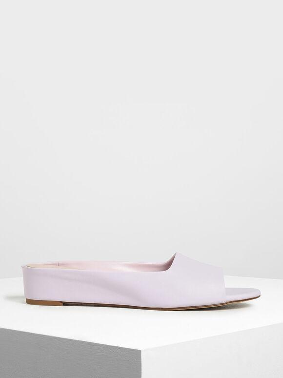 Open Toe Slide Sandals, Lilac, hi-res