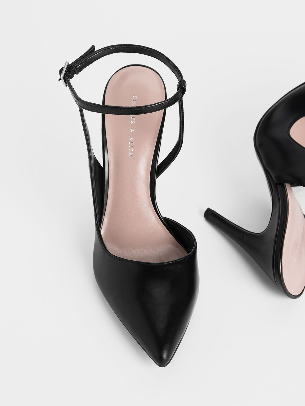 幾何剪裁高跟鞋, 黑色, hi-res