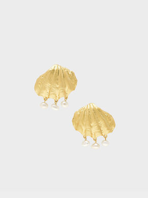 Seashell Stud Earrings, Gold, hi-res