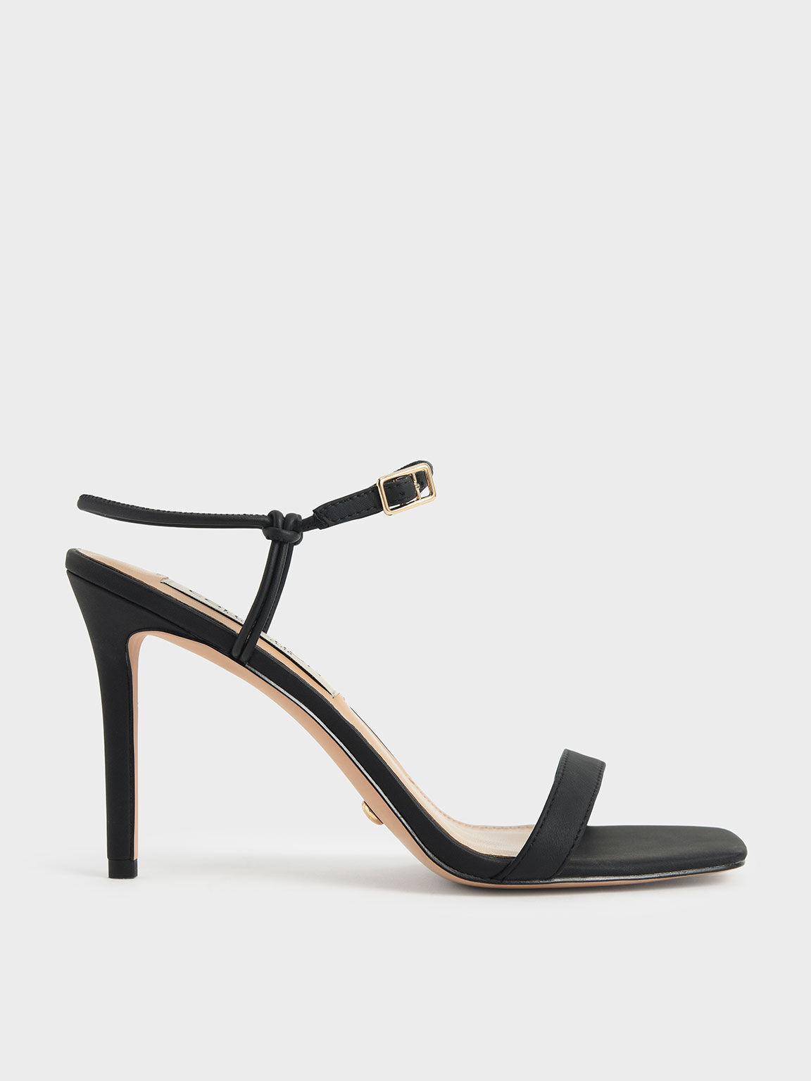Leather Knotted Heeled Sandals, Black, hi-res