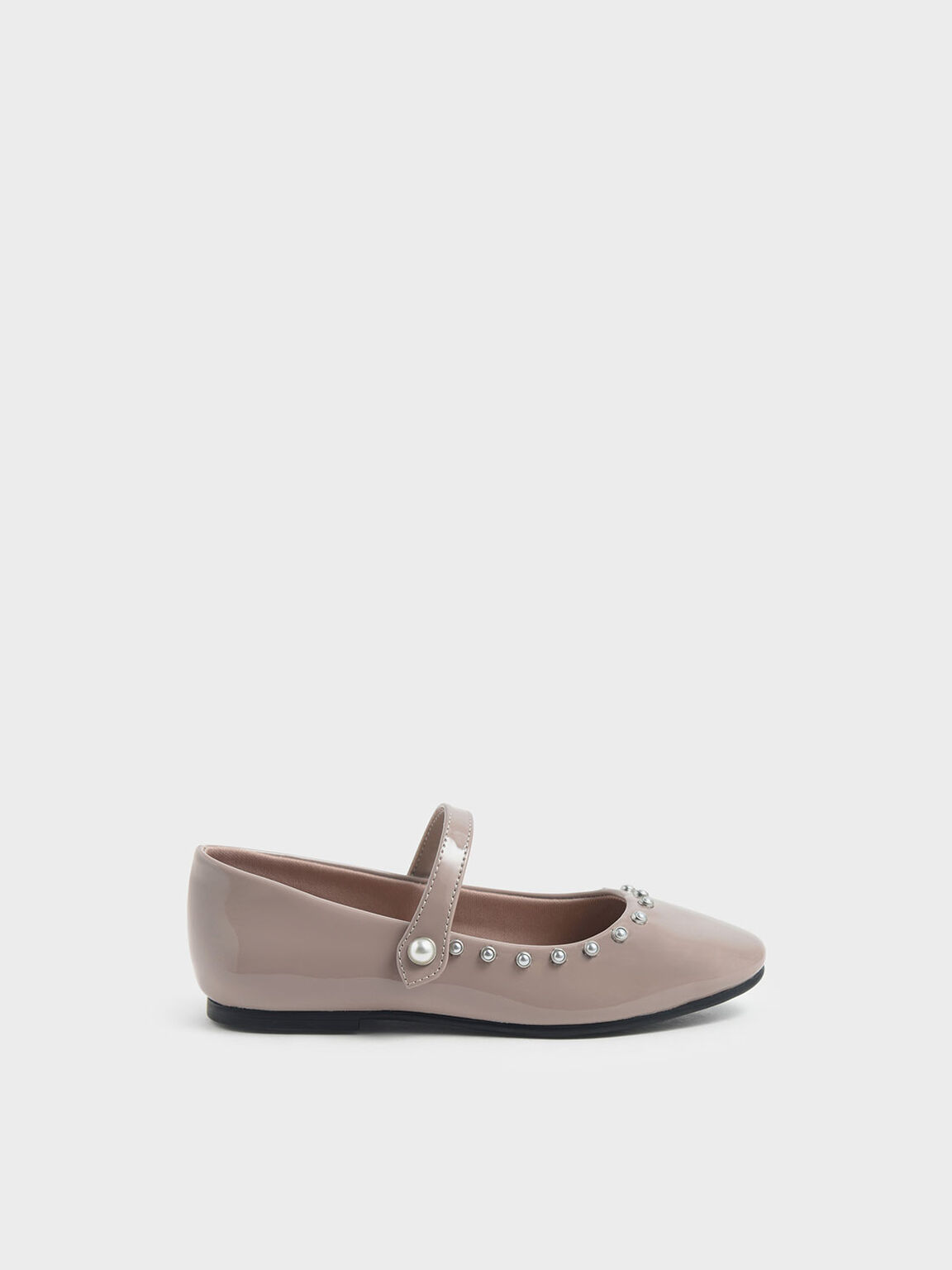 Girls' Embellished Trim Patent Mary Jane Flats, Nude, hi-res