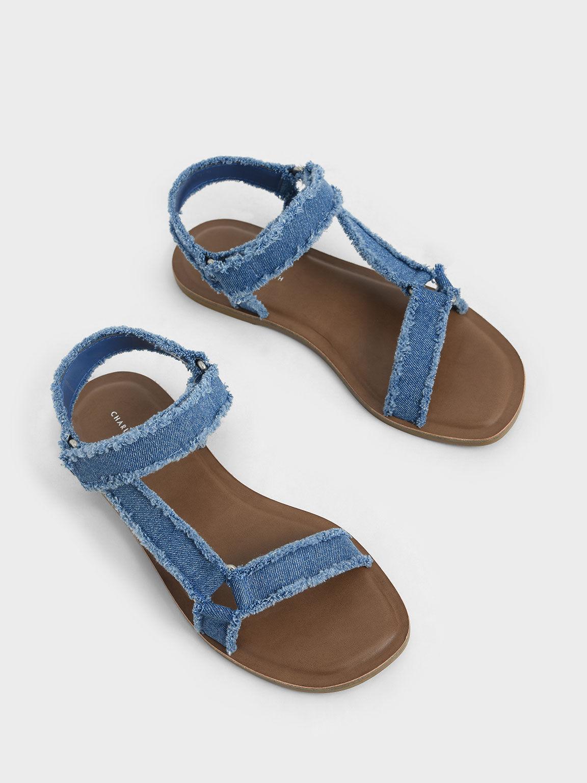 Denim Asymmetric Strap Sandals, Blue, hi-res