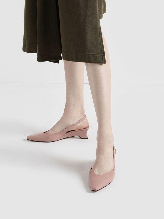 V-Cut Low Sculptural Heel Slingback Pumps, Nude