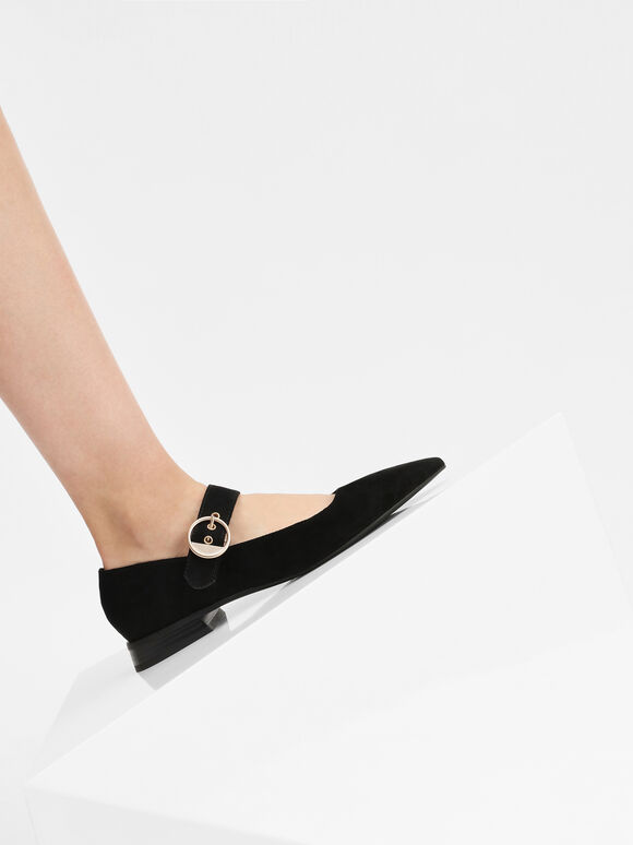 Gold Buckle Detail Mary Jane Flats, Black, hi-res