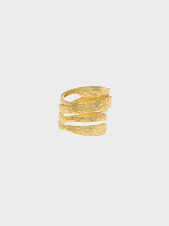 Hammered Wrap-Around Ring, Brush Gold, hi-res