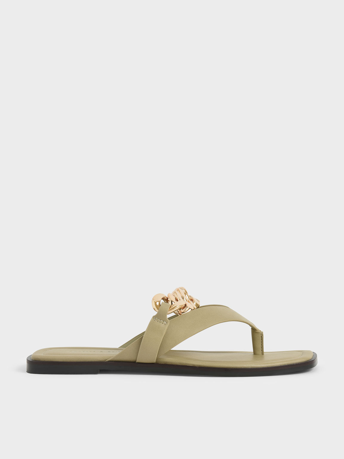 Chain Strap Thong Sandals, Taupe, hi-res
