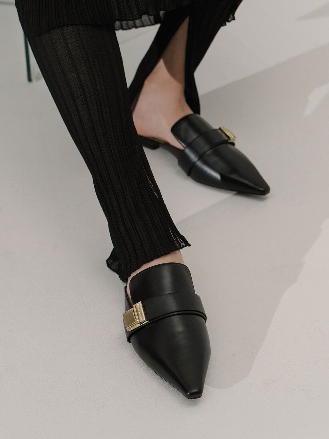 Buckle Loafer Mules, Black, hi-res