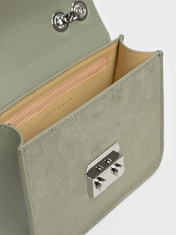 Push Lock Evening Bag, Sage Green
