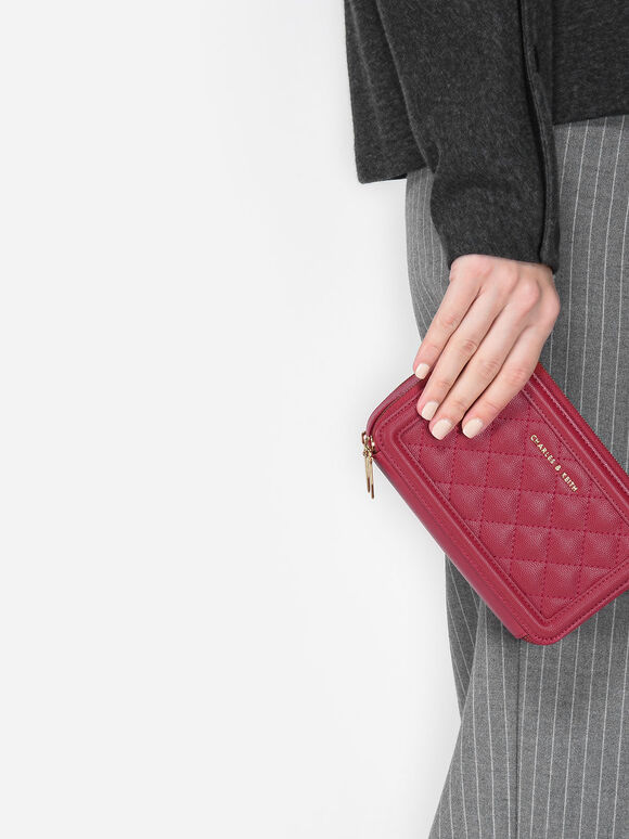 菱格紋手拿皮夾, 紅色, hi-res