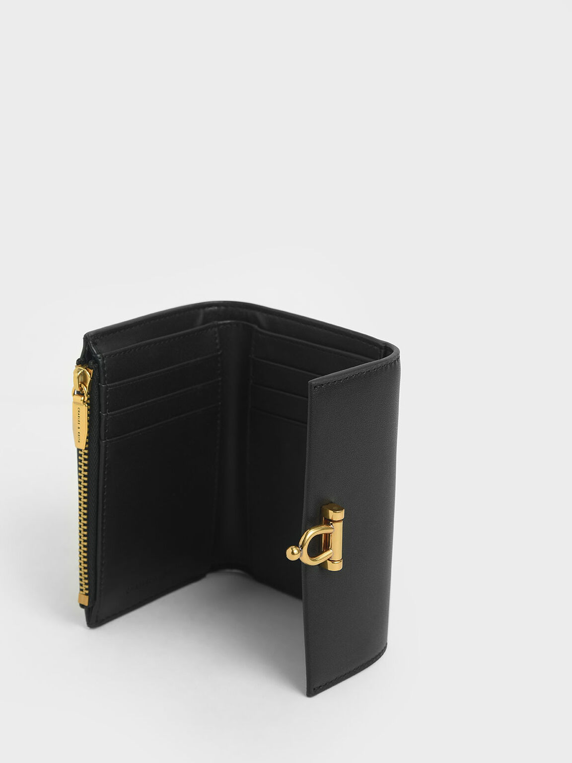 Metal Accent Mini Short Wallet, Black, hi-res