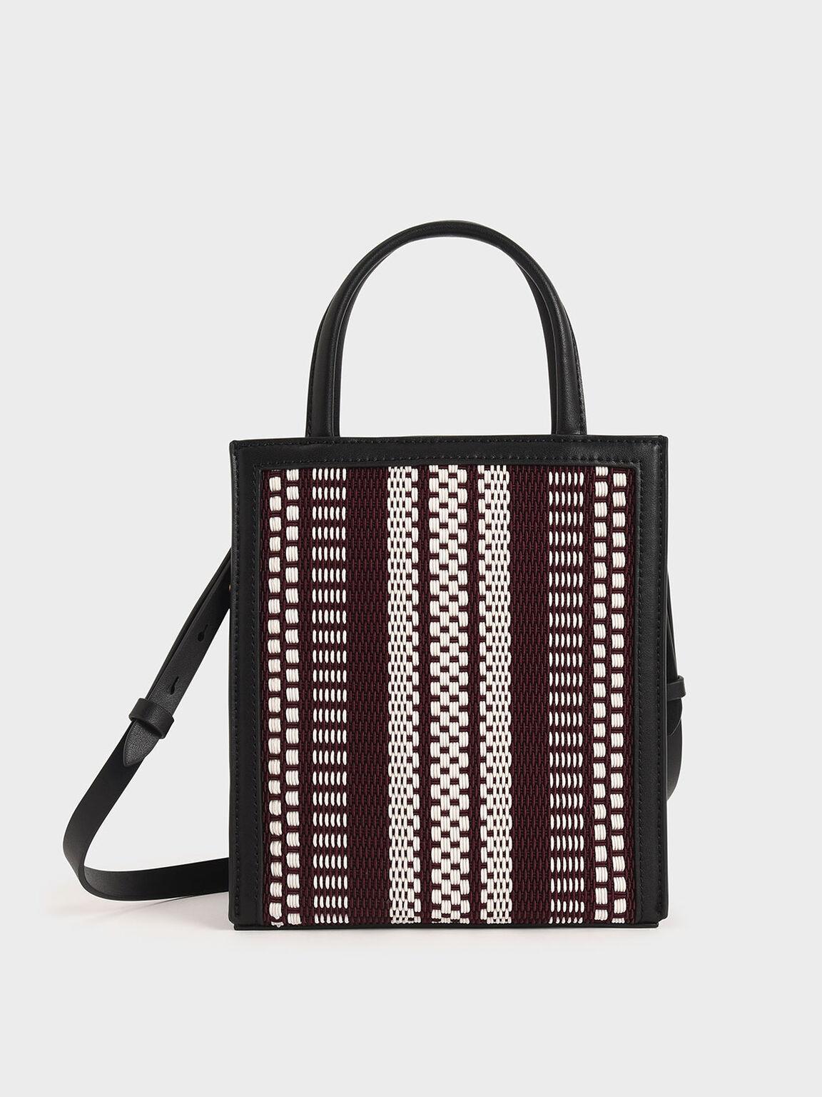 Woven Double Handle Tote Bag, Black, hi-res
