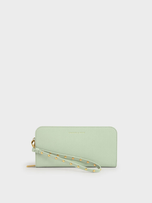 Long Wristlet Wallet, Mint Green, hi-res