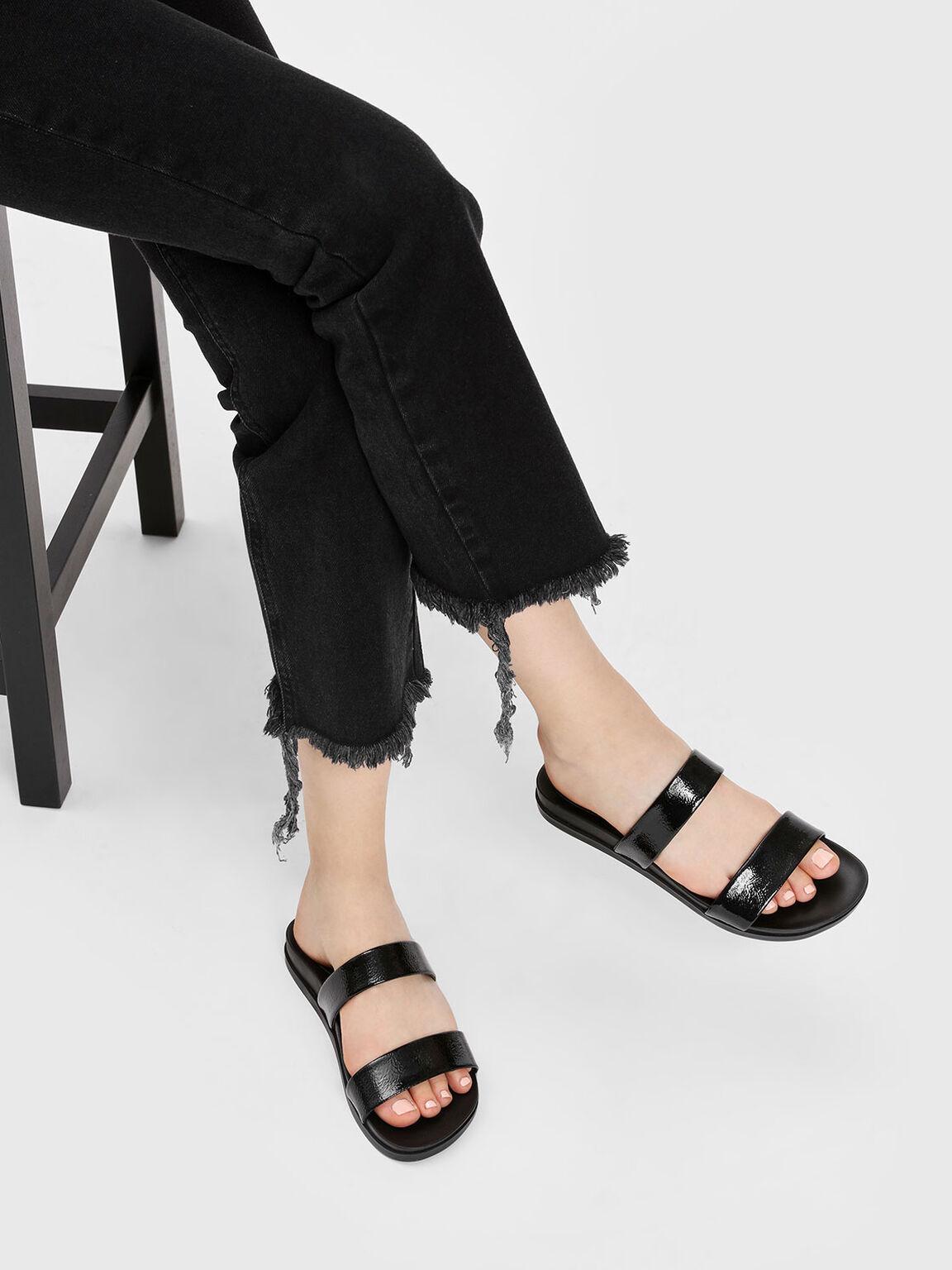 Double Strap Sliders, Black, hi-res