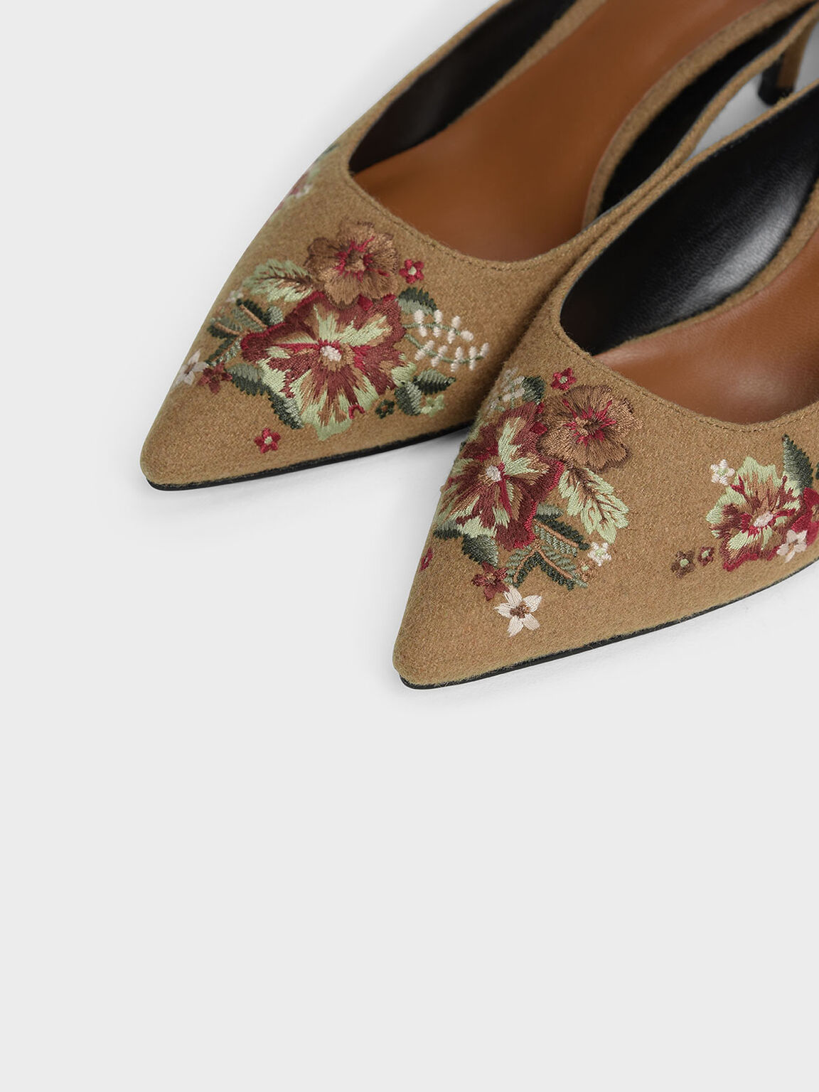 Floral Embroidery Mules, Beige, hi-res