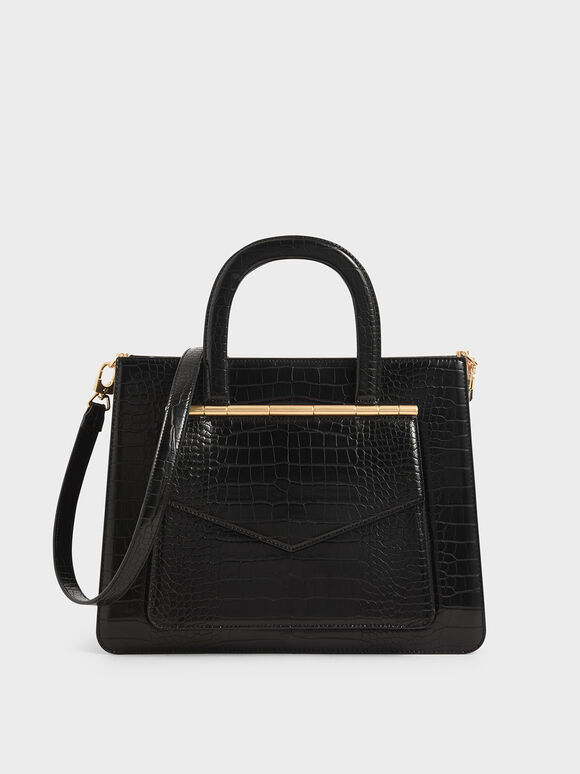 Croc-Effect Structured Tote Bag, Black, hi-res