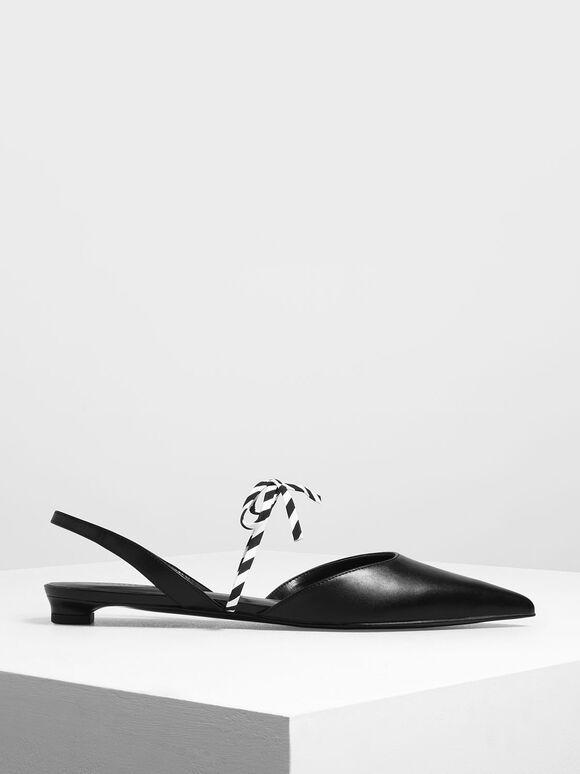 Black And White Bow Strap Slingback Flats, Black, hi-res