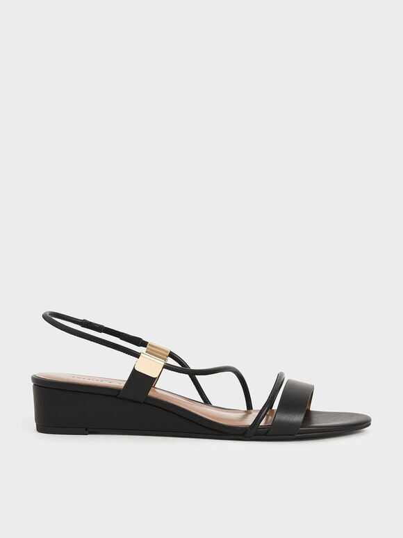 Strappy Slingback Wedges, Black, hi-res