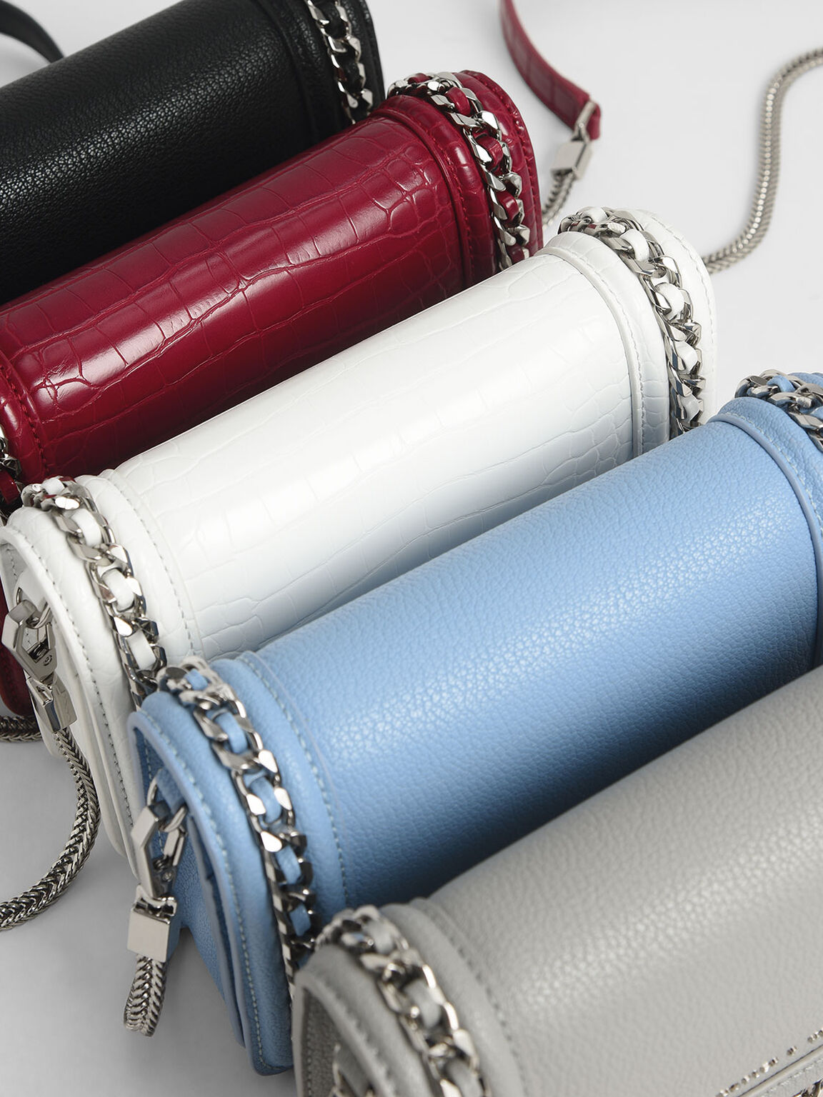 Chain-Trimmed Clutch, Grey, hi-res