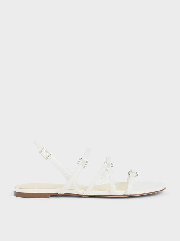 細帶平底涼鞋, 白色, hi-res