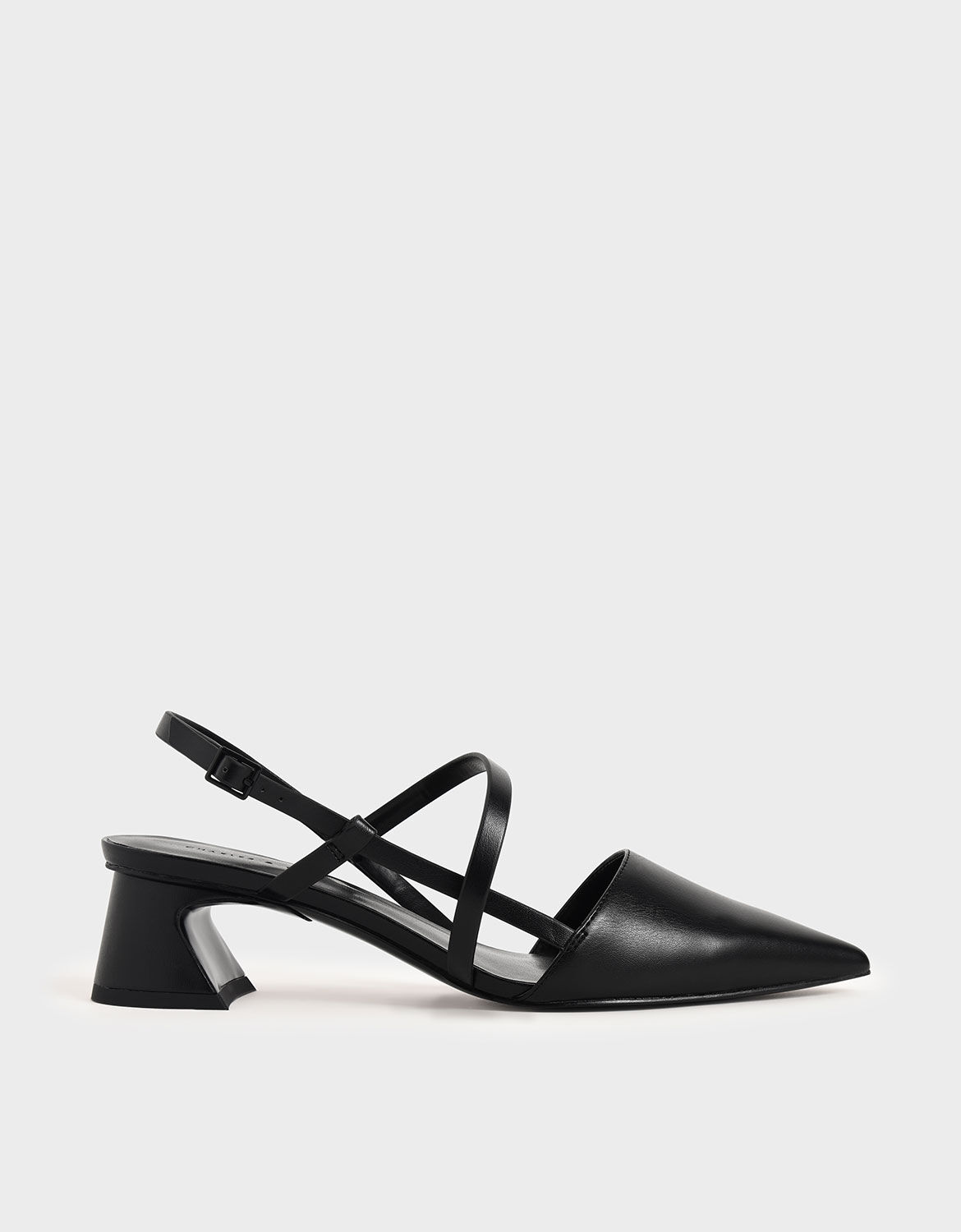 Black Strappy Trapeze Heel Court Shoes