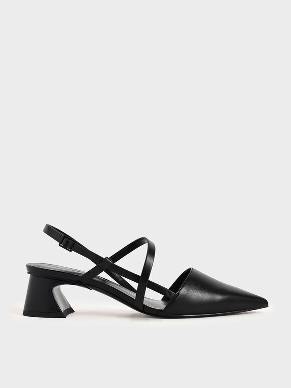 Strappy Trapeze Heel Pumps, Black, hi-res