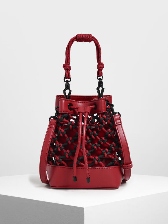 Netted Drawstring Bucket Bag, Red, hi-res