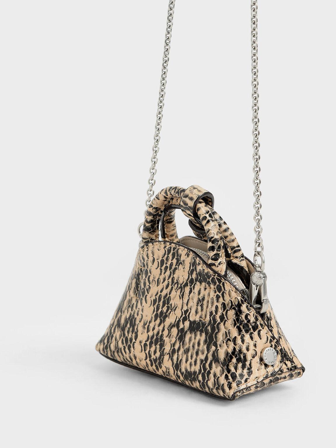 Snake Print Mini Dome Pouch, Beige, hi-res