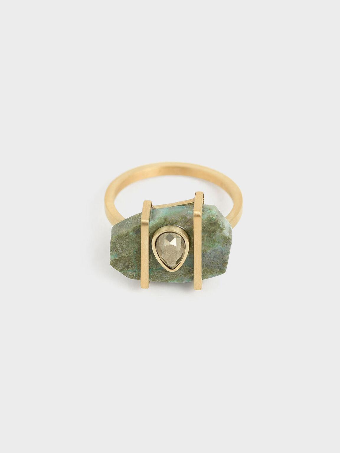 Chrysocolla & Pyrite Gemstone Teardrop Ring, Turquoise, hi-res