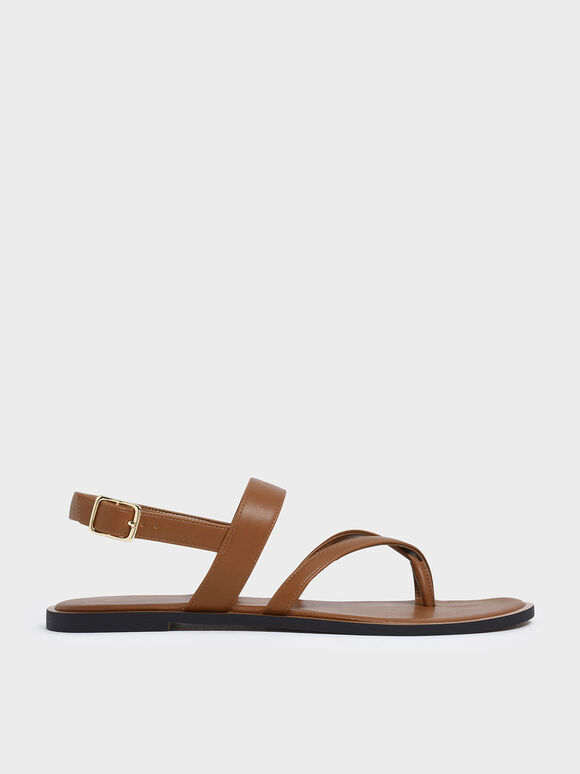 Toe Strap Thong Sandals, Brown, hi-res