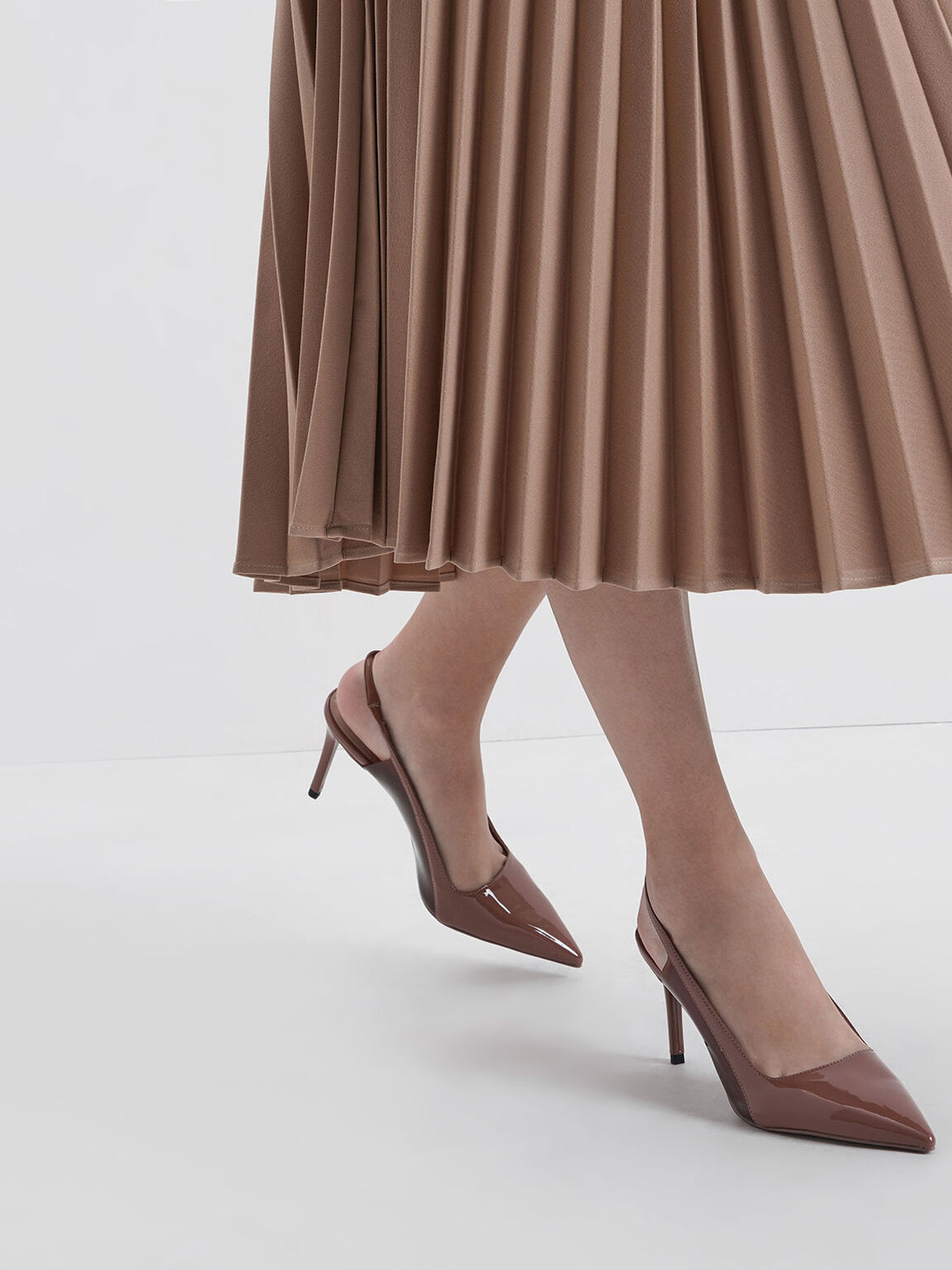 Patent Slingback Pumps, Brick, hi-res