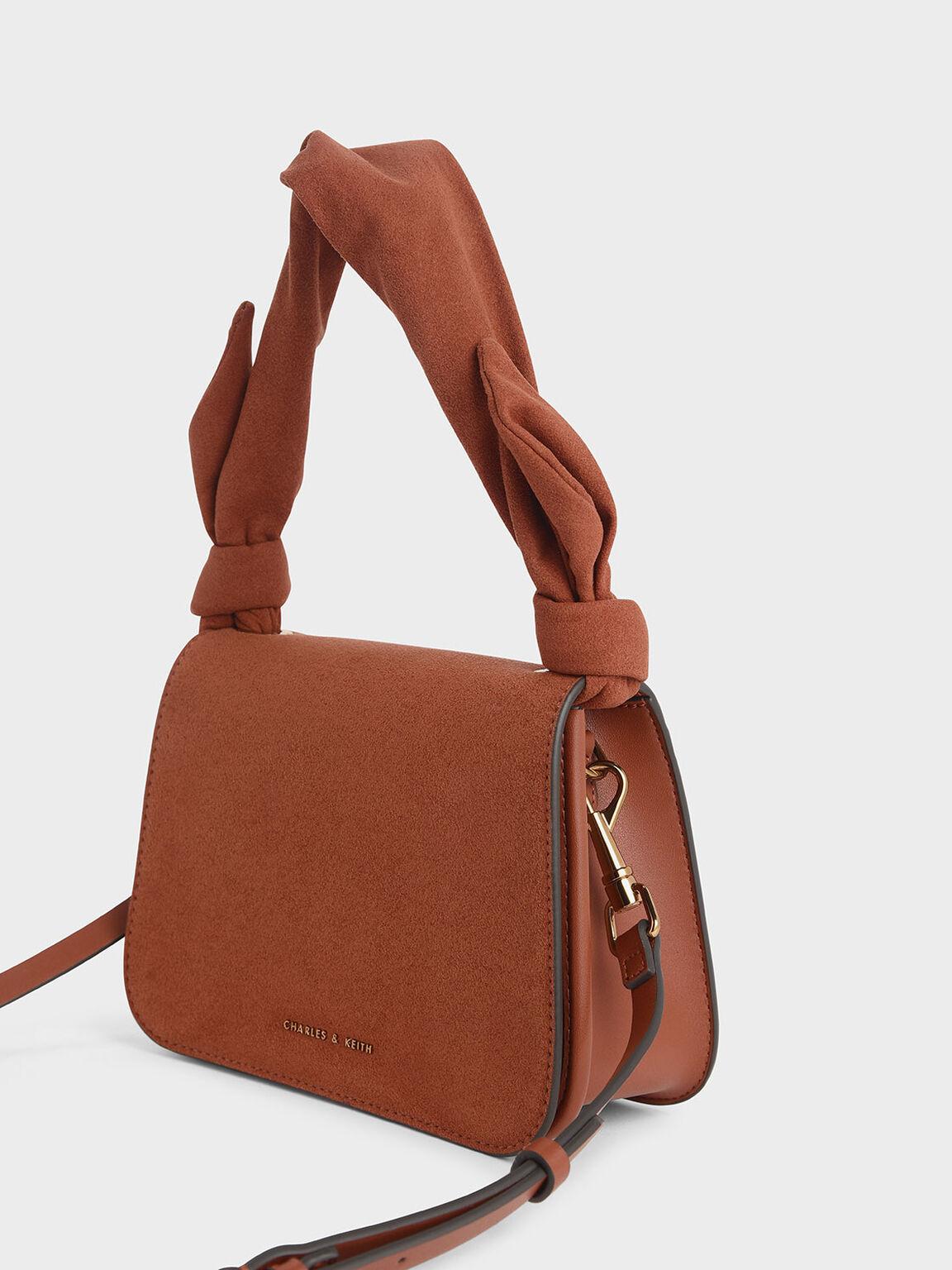 Textured Knot Handle Crossbody Bag, Clay, hi-res
