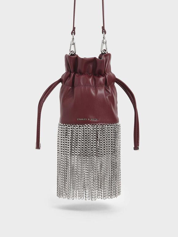 Chain Fringe Drawstring Bucket Bag, Burgundy, hi-res