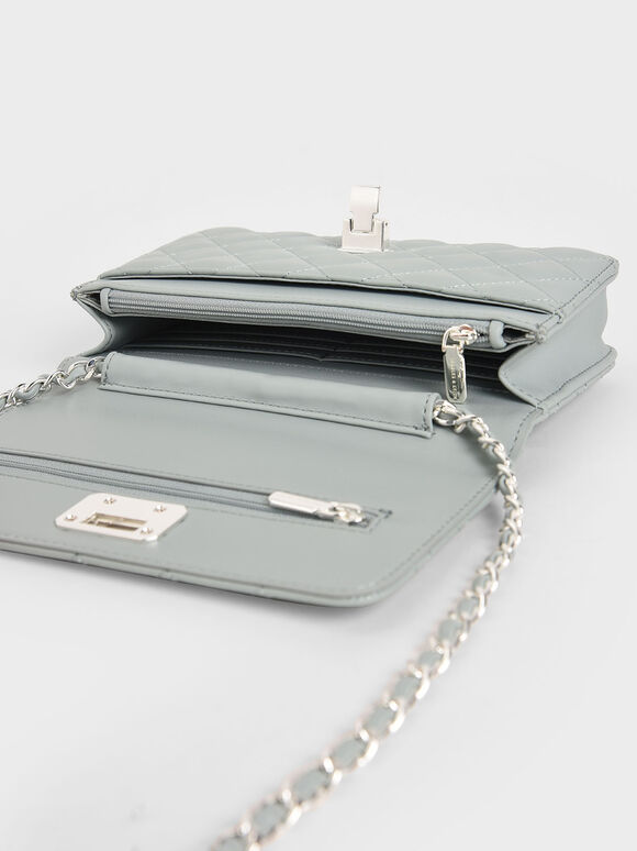 Quilted Flip-Lock Clutch, Light Blue, hi-res