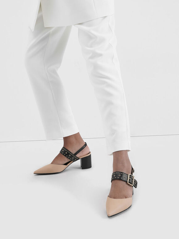 鉚釘尖頭低跟鞋, 淺粉色, hi-res